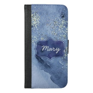 Silver Glittering Navy Watercolor iPhone 6/6s Plus Wallet Case