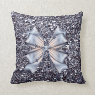 Silver Glitters and Bow Throw Pillow