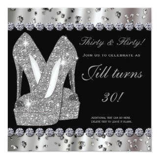 Silver glittery high heels shoes party invitation