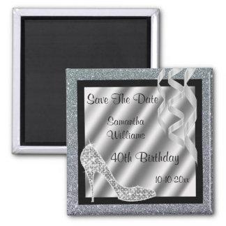 Silver Glittery Stiletto & Streamers 40th Birthday Square Magnet