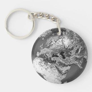 Silver Globe - Europe, 3d Render Key Ring