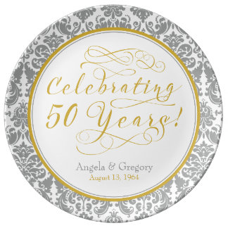 Silver Gold 50th Golden Anniversary Personalized Plate