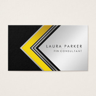 Silver Gold Black Geometrical Finance Modern Business Card