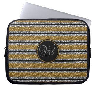 SILVER GOLD  BLACK GLITTER STRIPES WITH MONOGRAM LAPTOP SLEEVE