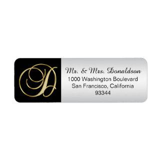 Silver Gold Black Monogram Letter 'D' Return Return Address Label