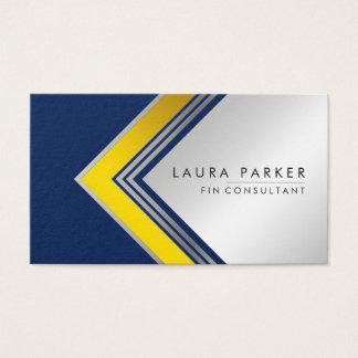 Silver Gold Blue Geometrical Finance Modern Business Card