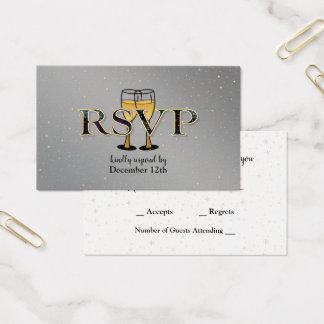 Silver Gold Champagne Glasses Stars New Year RSVP Business Card