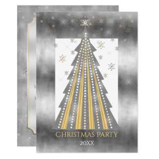 Silver Gold Christmas Tree | Snowflakes Party 11 Cm X 16 Cm Invitation Card