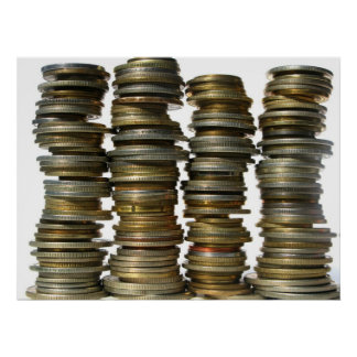 Silver Gold Coin Towers Poster