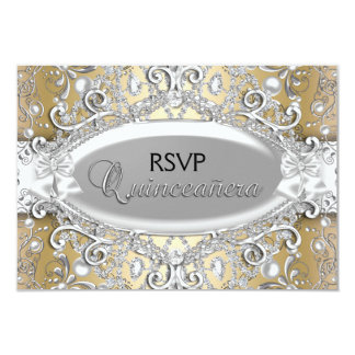 Silver & Gold Damask Pearl Quinceanera RSVP Card