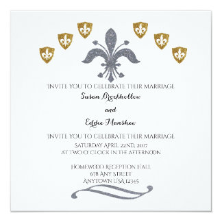 Silver & Gold Fleur de Lis Wedding Invitation