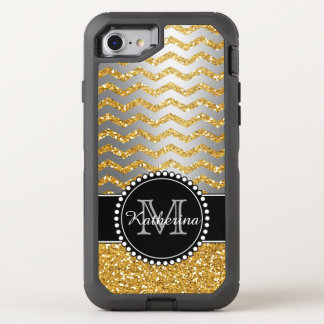 Silver Gold Glitter Chevron Personalized Defender OtterBox Defender iPhone 8/7 Case