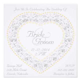 Silver Gold Heart Rainbow - Wedding Invitation