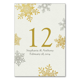 Silver Gold Ivory Snowflakes Winter Wedding Card