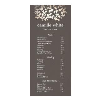 Silver Gold Leaves Beauty Salon Price List Menu