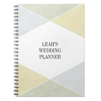 Silver Gold Metal Look Industrial Wedding Planner Spiral Notebook