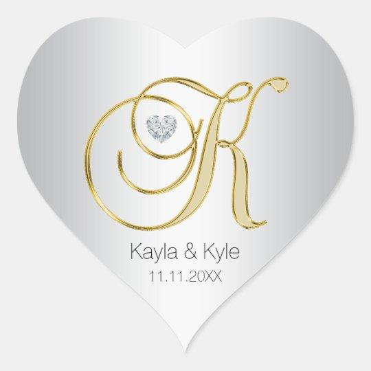 Silver Gold Monogram 'K' Wedding Envelope Seal
