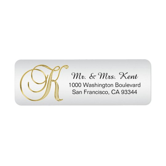 Silver Gold Monogram Letter 'K' Envelope Return Return Address Label