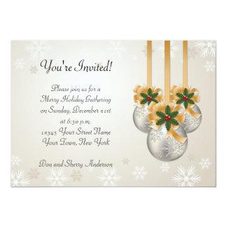 Silver Gold Ornaments Bows Holly Holiday Card 13 Cm X 18 Cm Invitation Card