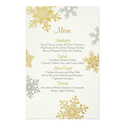 Silver Gold Pearl Snowflakes Winter Wedding Menu Flyer