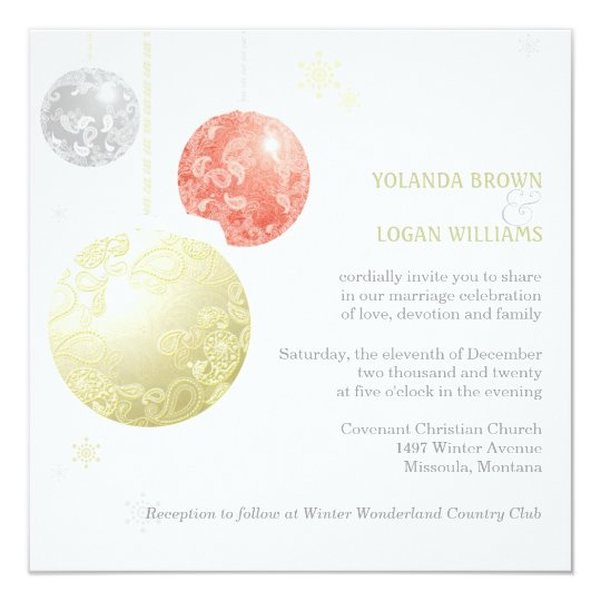 Silver Gold Red Christmas Balls Wedding Card