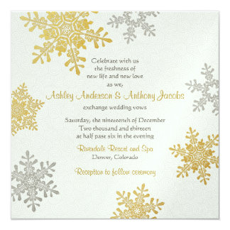Silver Gold Snowflake Square Winter Wedding Card
