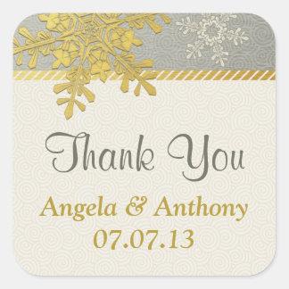 Silver Gold Snowflake Winter Wedding Favor Square Sticker