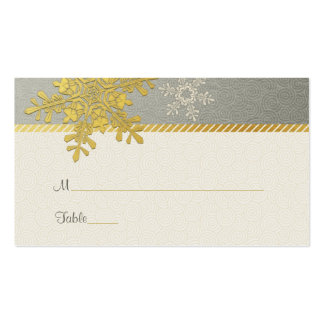 Silver Gold Snowflake Winter Wedding Place Cards Business Card