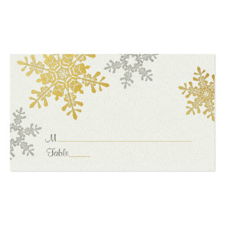 Silver Gold Snowflake Winter Wedding Place Cards Business Card Template