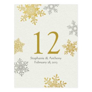Silver Gold Snowflake Winter Wedding Table Card Postcard