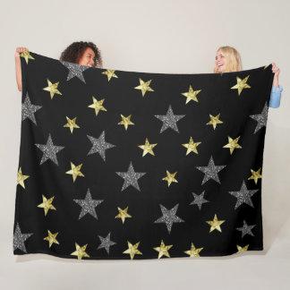 Silver & Gold Stars Black Hollywood Star Glam Fleece Blanket