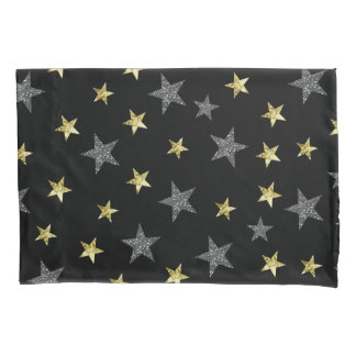 Silver & Gold Stars Black Hollywood Star Glam Pillowcase