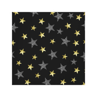 Silver & Gold Stars Black Hollywood Star Party Canvas Print