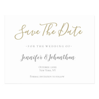Silver & gold wedding save the date cards