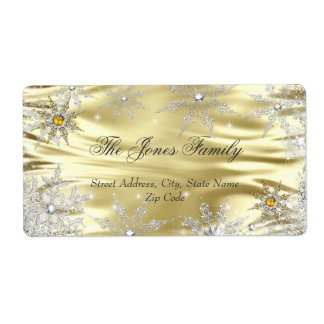Silver Gold Winter Wonderland Christmas Holiday Shipping Label