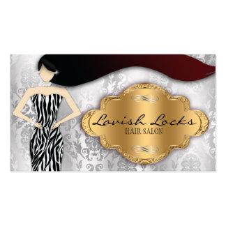 Silver Gold Zebra Damask Hair Stylist Salon Business Card Templates