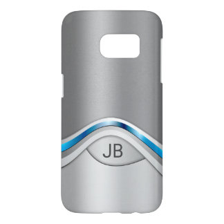 Silver Gray and Blue Metallic Look with Monogram