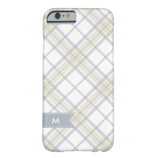 Silver Gray and Yellow Plaid Monogram iPhone 6 Barely There iPhone 6 Case