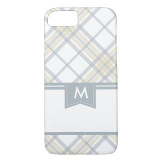 Silver Gray and Yellow Plaid Monogram iPhone 7 iPhone 7 Case