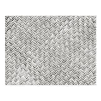 Silver Gray Basket Weave Geometric Pattern Postcard