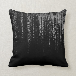 Silver Gray Black Cyber Matrix Rain Silver Minimal Cushion