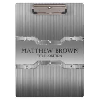 Silver Gray Brushed Metal Look Clipboard