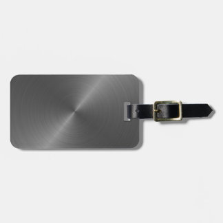 Silver gray brushed metal sheen luggage tag