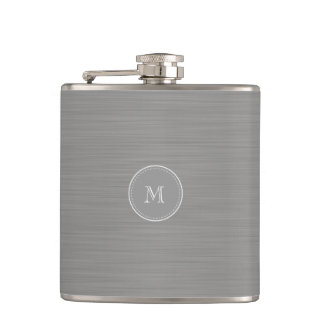 silver gray brushed metal texture and monogram hip flask
