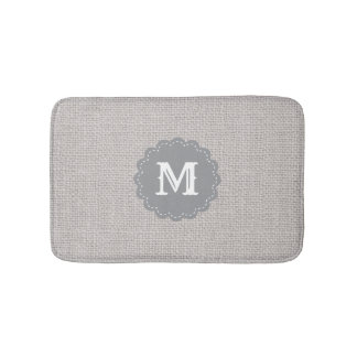 Silver Gray Burlap Effect Custom Monogram Bath Mat