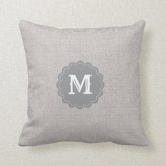 Silver Gray Burlap Effect Custom Monogram Cushion