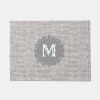 Silver Gray Burlap Effect Custom Monogram Doormat