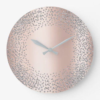Silver Gray Crystals Confetti Glitter Gems Blush Large Clock