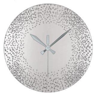 Silver Gray Crystals Confetti Glitter Gems MInimal Large Clock
