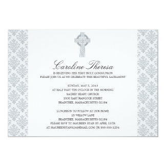 Silver Gray Damask Celtic Cross First Communion Card